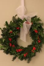 Fresh Greens Wreath with Ilex Berries